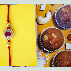 American Diamond Rakhi with Sweets