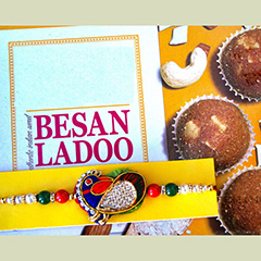 Peacock Rakhi with Laddu