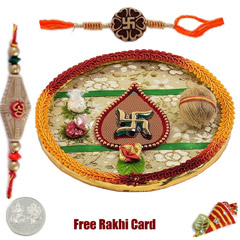 Swastik Rakhi Thali with Free Silver Coin /></a></div><div class=