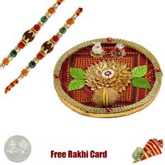 Bandhani Rakhi Thali with Free Silver Coin