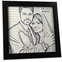 Pencil Sketch Personalised Tile Frame For Couple
