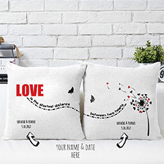 Love Printed Personalized Cushions Pair