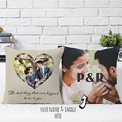 Decorated Photo Personalized Cushions Pair