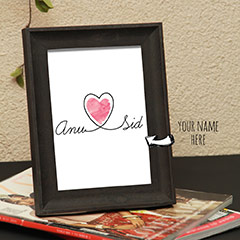 Heart Connected Name Personalized Photo Frame