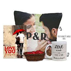 Personalized Cushion and Mug Combo with Card and Choco Basket