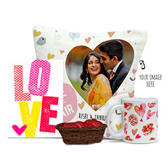 Romantic Combo of Chocolates and card with Personalized Cushion and Mug