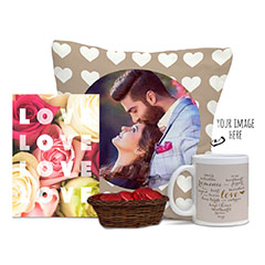Love U Always Personalized Gifts Combo with Love Shaded Cushion