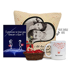 Personalized Valentine Combo Surprise with Cards and Choco Basket