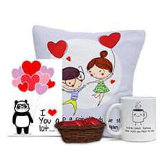 Cushion and Card Combo with Mug and Home Made Chocolates