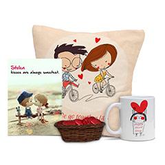 Kissing Couple Card and Cushion Combo with Chocolates and Mug
