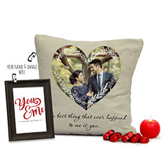 Personalized Valentine Gifts Combo with Cushion and Photo Frame