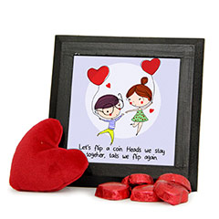 Couple Photo Frame with Homemade Chocolatecombo with Red Heart