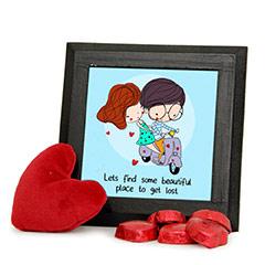 Homemade Chocolates and Red Heart Teddy Combo with Frame
