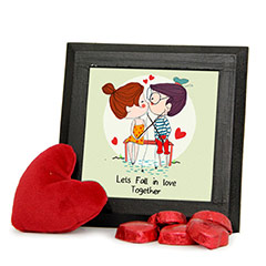 Kissing Couple Frame with Red Heart Teddy Combo with Chocolates