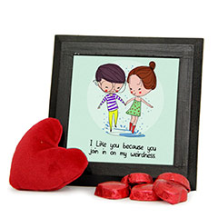 Appealing Photo Frame with Red Teddy Combo with Chocolates