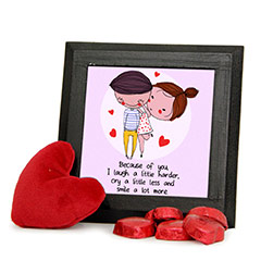 Love U Frame and Red Teddy Combo with Chocolates