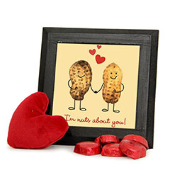 Printed Frame and Chocolates Combo with Red Heart Teddy