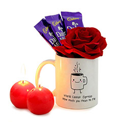 Romantic Red Ball Candle and Rose with Mug and Dairy Milk Chocolates