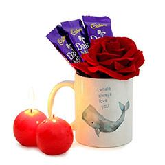 Love You Mug and Ball Candles Combo with Rose and Chocolates