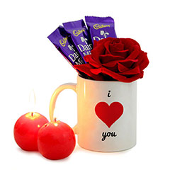 Romantic Red Candles and Rose with Chocolates and Printed Mug