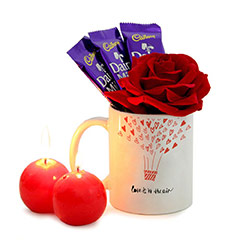 Spreading Love Mug and Red Candles Combo with Chocolates and Rose