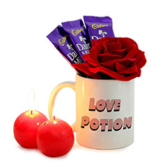 Love Potion Mug and Chocolates Combo with Candles and Red Rose