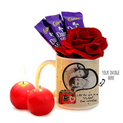 Personalized Mug with Artificial Rose Combo Gifts
