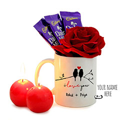 Personalized Romantic Gifts with a Rose and Chocolates