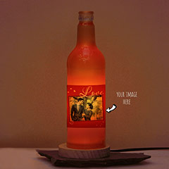 Be Always Forever Photo Printed Red Personalized Bottle Lamp