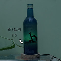 First Letter of the Names Printed Personalized Blue Lamp