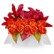 Flat Box Lilies and Roses