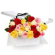 Flat Boxed Roses Two Dozen Mixed