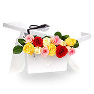 Flat Boxed Roses One Dozen Mixed