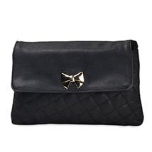 Casual Crossed Pattern Sling Bag (Black)