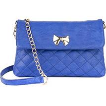 Casual Crossed Pattern Sling Bag (Blue)