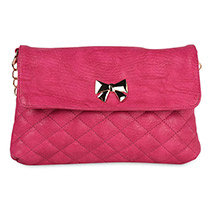 Casual Crossed Pattern Sling Bag (Pink)