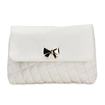 Casual Crossed Pattern Sling Bag (White)