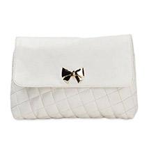 Casual Crossed Pattern Sling Bag (White)