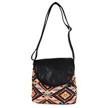 Casual Multicoloured Casual Sling Bag (Black)