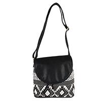 Monochrome Canvas Casual Sling Bag (Black)