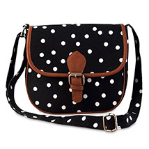Polka Dots Canvas Sling Bag (Black)