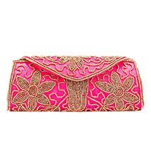Ethnic Flap Zari Moti Clutch (Pink)