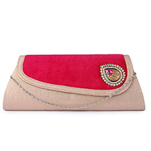 Designer Velvet Broach Clutch ( Pink )