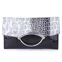 Designer Printed Flap Sling Clutch ( Black )