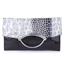 Designer Printed Flap Sling Clutch ( Black )