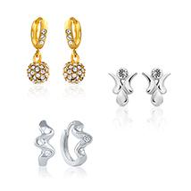 Mahi Combo of Sparkling Bali Hoop Stud Earrings for Women