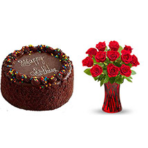 Chocolate Cake with Red Roses in Red Glass Vase