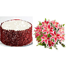Red Velvet Cheesecake with Stunning Pink Lily Bouquet
