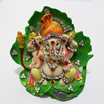 Sparkling Ganesha on Leaf