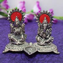 Laxmi Ganesha with Diya